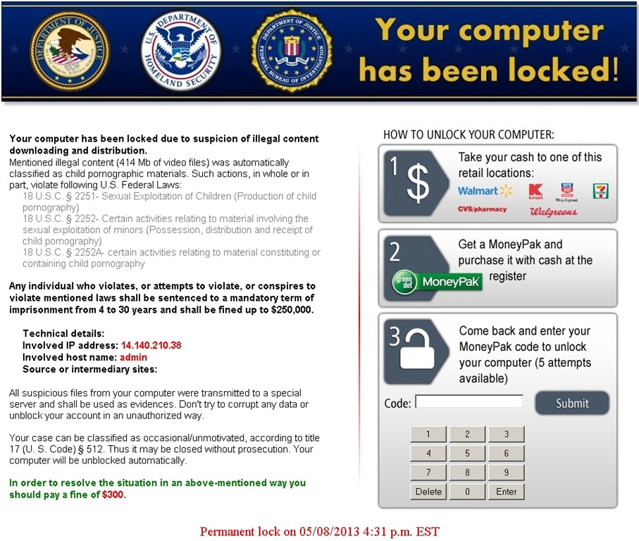 Figure 1: Example of locker ransomware